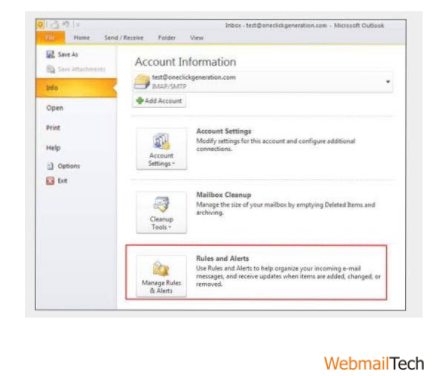 Create a Rule in Outlook 2010 for Emails