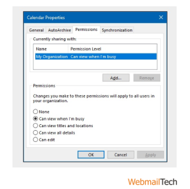 Permission Level' list, select 'Can view when I am busy'
