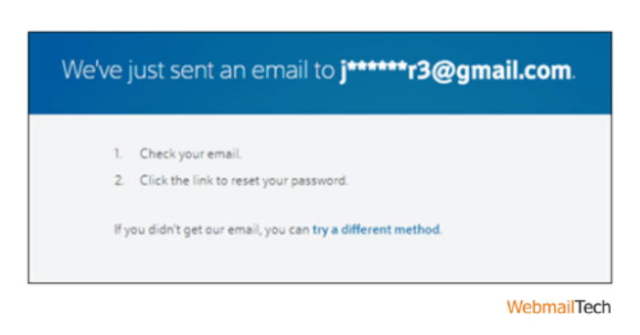 If you want to reset your password via email, check your inbox and click on Reset my password.