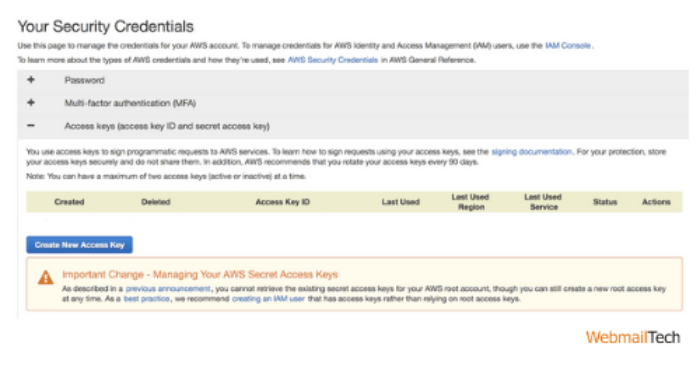 Delete Your AWS Account's Root User Access Keys