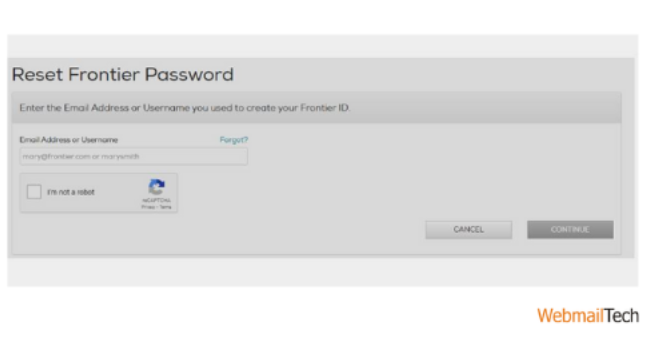 Go to the password reset page of Frontier mail.