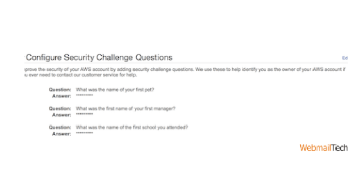 Move to a Security Challenge Questions Configuration section.