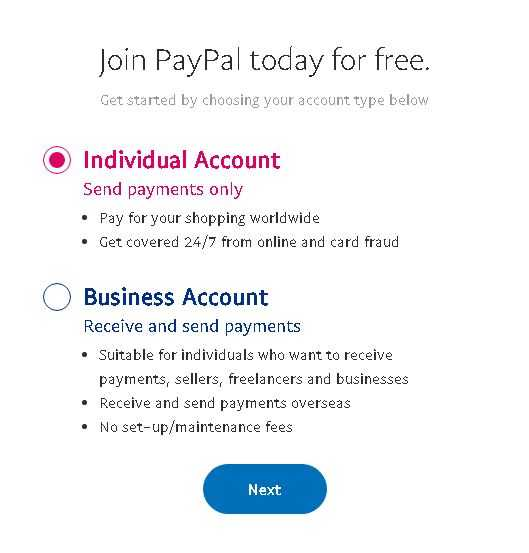 pay pal Individual Account or business Account type